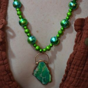 TVD Green Howlite Beaded Copper Necklace & Earring